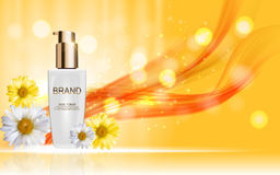 Design Cosmetics Skin Toner Product Bottle with Flowers Chamomil Royalty Free Stock Photo