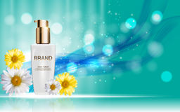 Design Cosmetics Skin Toner Product Bottle with Flowers Chamomil Stock Photos