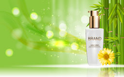 Design Cosmetics Skin Toner Product Bottle with Flowers Chamomil Stock Photo