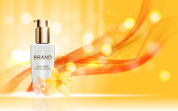 Design Cosmetics Skin Toner Product Bottle with Flowers Golden L Stock Photography