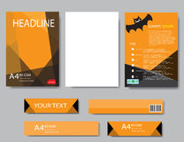 Design cover paper halloween report. Abstract geometric. Vector template. Design template  halloween Royalty Free Stock Images