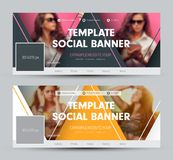 Design of a cover for social networks with triangular elements a. Nd a place for a photo. Vector banner template. Set royalty free illustration