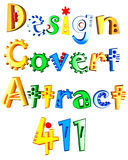 Design, covert, attract and 411 3d colored text. Colored 3d text isolated on white background, saying Design, Covert, Attract and 411 Stock Photos