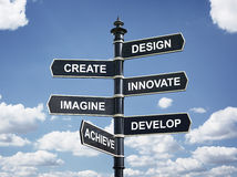Design, create, innovate, imagine, develop and achieve direction. Design, create, innovate, imagine, develop and achieve motivational direction signpost Stock Images