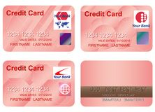 Design of a credit card. Three variants and underside. Vector art in EPS format. All cards organized in layers for usability. The text has been converted to Stock Images