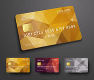 Design of a credit debit bank card with a gold, bronze and sil. Ver polygonal abstract background. Template for presentation. Vector illustration stock illustration