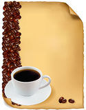Design with cup of coffee and coffee grains. Stock Photos