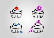 The design of the cupcake.A cupcake for every mood. stock illustration