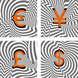 Design currency icons set. Euro, yen, pound, dolla. R. Striped twirl lines textured font. Vector-art illustration Royalty Free Stock Images