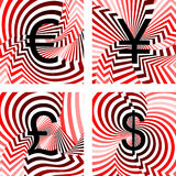 Design currency icons set. Euro, yen, pound, dolla. R. Striped twisting lines textured font. Vector-art illustration. No gradient Royalty Free Stock Photography