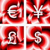 Design currency icons set. Euro, yen, pound, dollar. Striped twisting lines textured font. Vector-art illustration. No gradient Royalty Free Stock Photo
