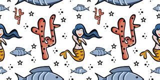 Design cute seamless pattern mermaid childish drawing. Repeat background love vector decorative art textile illustration fabric swim water beauty girl smile vector illustration
