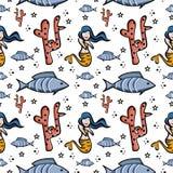 Design cute seamless pattern mermaid images. Repeat background love vector decorative art textile illustration fabric swim water beauty girl smile beautiful stock illustration