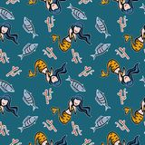 Design cute seamless pattern mermaid images. Repeat background love vector decorative art textile illustration fabric swim water beauty girl smile beautiful royalty free illustration