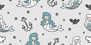 Design cute seamless pattern mermaid images. Repeat background love vector decorative art textile illustration fabric swim water beauty girl smile beautiful vector illustration