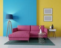 design 3d av en modern vardagsrum Hörnburgundy soffa Royaltyfri Illustrationer