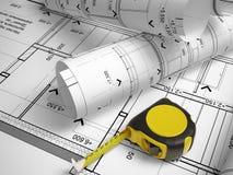 design 3d av tak på en bakgrund av teckningar Arkivfoton