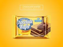 Design d'emballage de gaufrette de chocolat illustration de vecteur