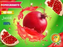 Design d'emballage de jus de grenade, fruit de grenat dans les annonces rouges d'éclaboussure de jus, illustration 3d Photo libre de droits