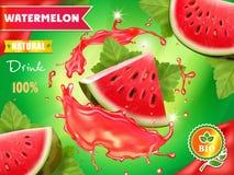 Design d'emballage de la publicité de jus de pastèque illustration libre de droits