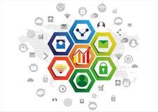 Design d'entreprise social de communication de réseau Illustration Libre de Droits