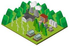 Design 3D für Kraftwerk in den Bergen Stockbilder