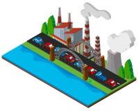 Design 3D für Kraftwerk durch die Straße Stockbilder