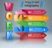 Design 3D Infographic Dollar, Arbeitsikone Stockbild