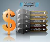 Design 3D Infographic Dollar, Geld, Straßenikone lizenzfreie abbildung