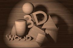Design of 3D text and shapes. Royalty Free Stock Images