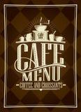 Design de carte, café et croissants de menu de café Photographie stock libre de droits