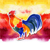 Design de carte chinois de nouvelle année avec le coq rouge, symbole de zodiaque de 2017, sur le fond ardent d'aquarelle Photographie stock
