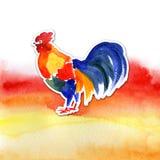 Design de carte chinois de nouvelle année avec le coq rouge, symbole de zodiaque de 2017, sur le fond ardent d'aquarelle Image stock