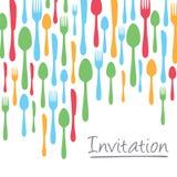 Design de carte créatif d'invitation avec la frontière de couverts Photo libre de droits