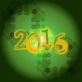 Design de carte créatif de salutation de la carte 2016 de bonne année Images libres de droits