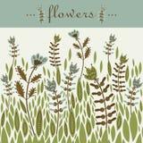 Design de carte décoratif de magie de clairière d'inscription de fleurs Images stock