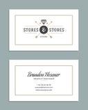 Design de carte d'affaires et rétro Logo Template Style de vintage d'élément de conception de vecteur pour le Logotype Photographie stock libre de droits