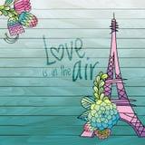 Design de carte d'amour de fleur avec le vecteur de Tour Eiffel illustration libre de droits