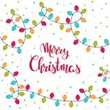 Design de carte d'isolement de Noël avec le lettrage de main Joyeux Noël Illustration de vecteur Image stock