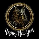 Design de carte de fête chinois de vecteur de la nouvelle année 2018 avec le chien mignon, symbole de zodiaque de 2018 ans Images stock