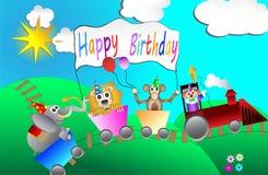 Design de carte de fête d'anniversaire de cirque pour le vecteur d'enfants illustration de vecteur