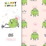 Design de carte de joyeux anniversaire avec la grenouille mignonne de princesse illustration libre de droits