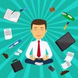 Design de carte de méditation d'homme de bureau illustration de vecteur