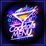Design de carte de menu de cocktails, style de lampes au néon Images libres de droits