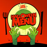 Design de carte de menu de Halloween avec le zombi Photo libre de droits
