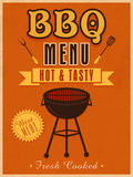 Design de carte de menu de vintage pour le BBQ Photos stock