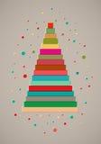 Design de carte de Noël avec l'arbre de Noël coloré stylisé de ruban Illustration de vecteur Photos libres de droits