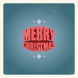 Design de carte de Noël de vintage avec 3d créatif illustration stock