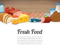 Design de carte de nourriture fraîche Fond de nourriture avec le repas coloré Concept normal de nourriture Vecteur Image stock