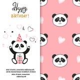 Design de carte de salutation de joyeux anniversaire avec l'ours panda mignon illustration de vecteur
